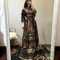 Imprimir Vestido Longo 2016 Outono Inverno Europa Novo Moda de Rua Retro Diária Metade da Luva do Assoalho-Comprimento Chiffon Magro Das Mulheres vestido