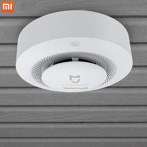 Image 5 - ホット今 Xiaomi Mijia ハネウェル火災警報検出器音と視覚アラームゲートウェイ煙検出器スマートホームリモートで動作