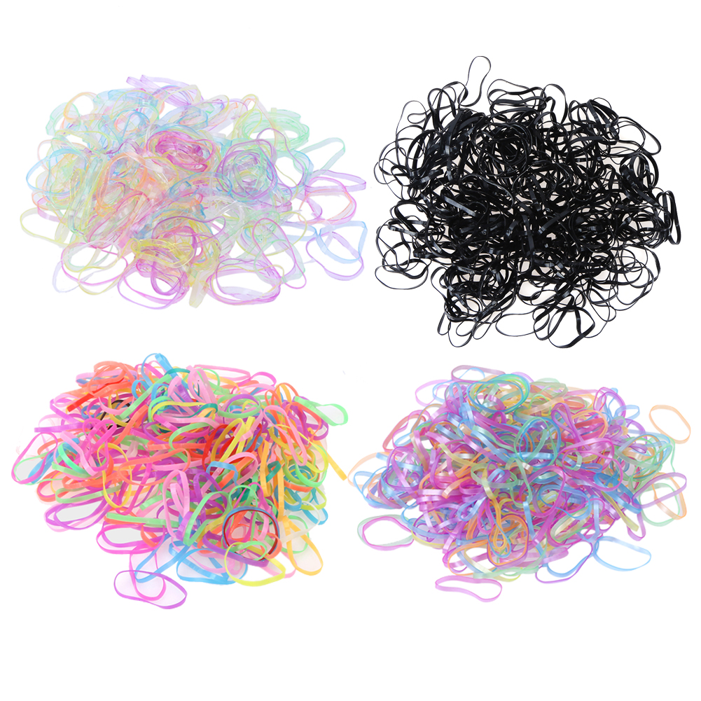 4000pcs/Bag Rubber Rope Ponytail Holder Elastic Hair Bands Ties Braids Plaits hair clip headband Hair Accessories