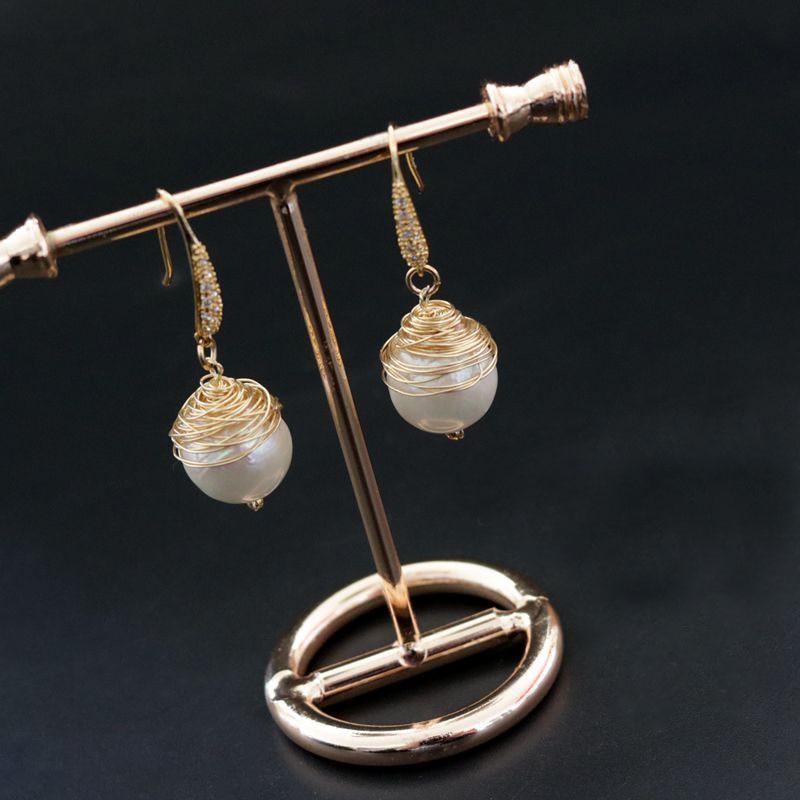 Golden Handmade Baroque Wire Wrapped Jewelry Earrings Dangle Drop Earrings Designer 2018 Earrings for Women Female Statement faux diamond metal fringe statement drop earrings