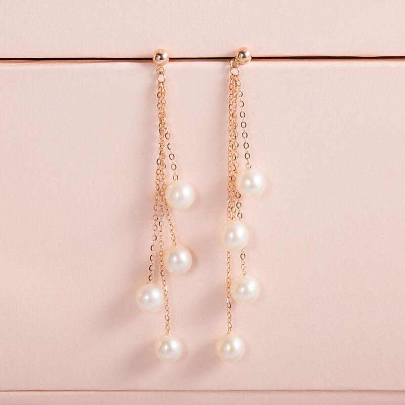 AINUOSHI Tassel Pearl Dangle Earring 18K Yellow Gold Pearl Chain Earring Natural Pearl Drop Earrings Women Ear Line Girl Earring 18k pearl earrings ear pins with rhinestones decor for women
