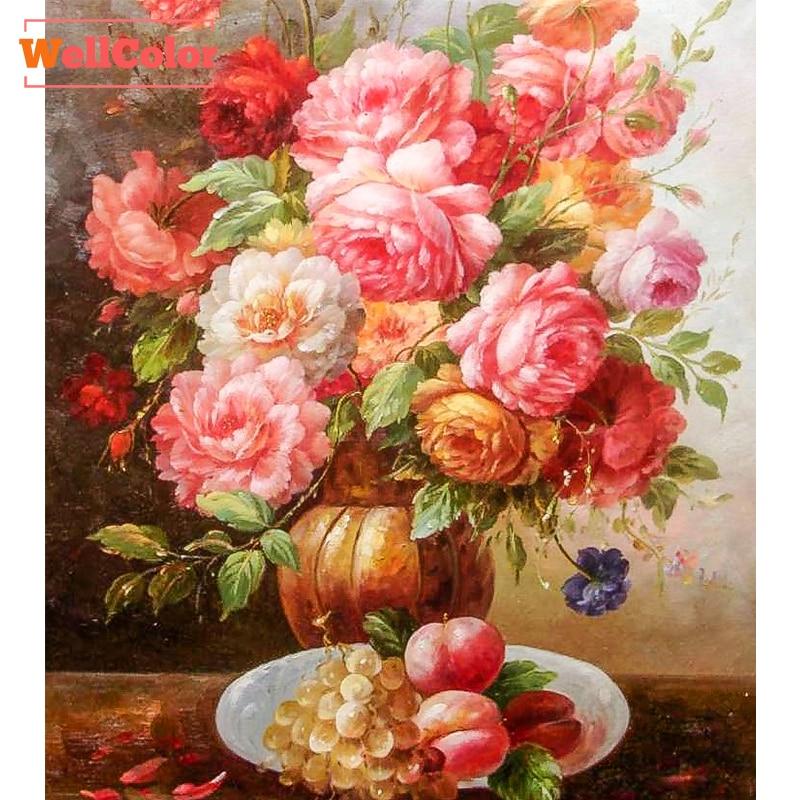 WELLCOLOR růžová pivoňka květiny vzor drahokam DIY 5D - Umění, řemesla a šití