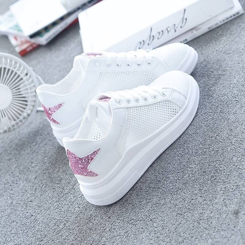 Fashion Casual Shoes Summer Spring Shoes Women Fashion Five-star Breathable Hollow Lace-Up Sneakers Zapatillas Mujer Shoes