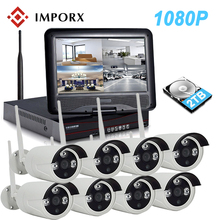 """1080 P 8CH NVR Sem Fio Kit 10 """"LCD Monitor de Câmera de 2MP IP Wi-fi P2P Sistema de CCTV Impermeável Ao Ar Livre Vídeo Kit de Vigilância de segurança"""