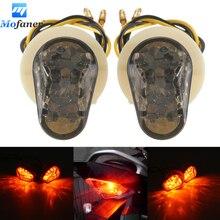 Black Amber Motorcycle 12V Flush bonading Mini LED Turn Signal Lights for Yamaha  YZF R1 R6 R6 SFZ1S FAZER