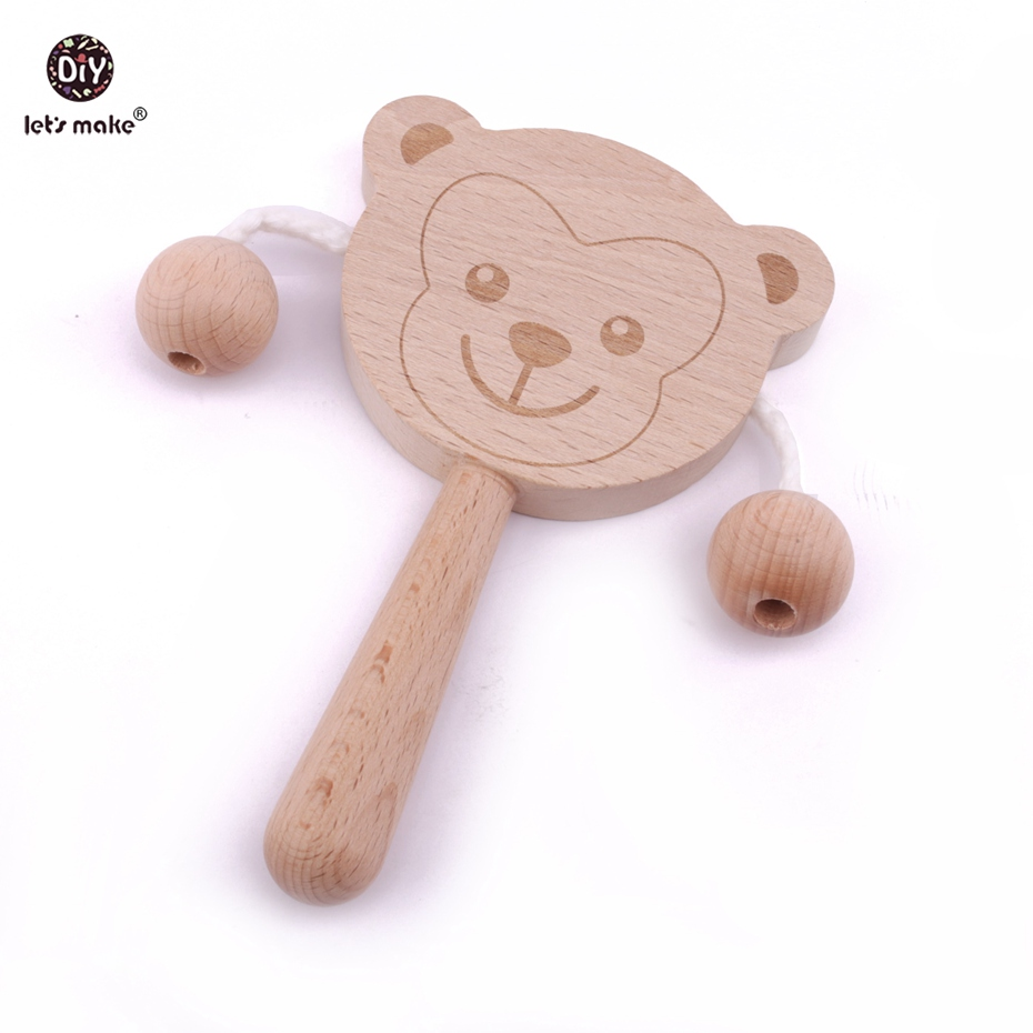 Lets make 1pc Beech Wooden Cartoon Animals Boy & Girl Blessed Handbell Baby Toy Kids Rattles Drum Musical Instrument Teether