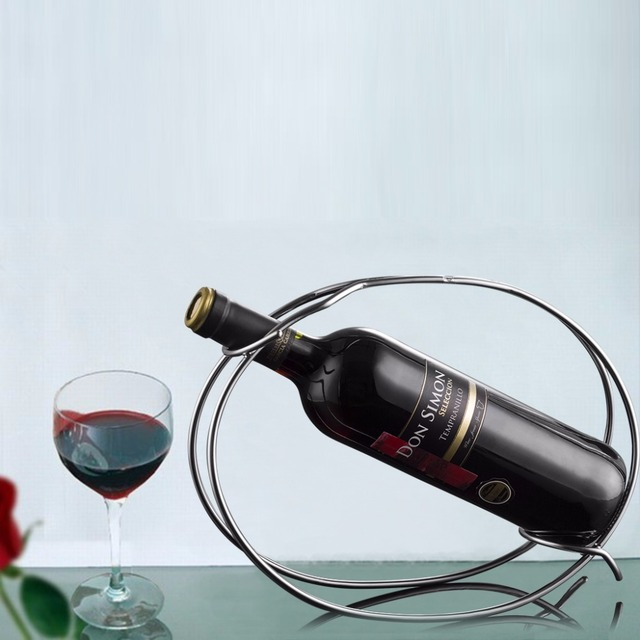 Stainless Steel Single Bottle Displaying Wine Holder Free Standing Modeling Simple Combination Of Display And