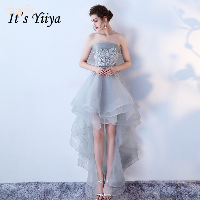 It's Yiiya Strapless Asymmetrical Elegant Luxury   Evening     Dresses   Sexy Flower Famous Designer Party Formal   Dress   LX220