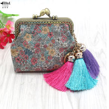 New Bohemian Mini Retro Vintage Kiss Lock Women Coin Purse Wallet Bag Lady Girl Flowers Fringe Tassel Wallets Card Hold Bags(China)