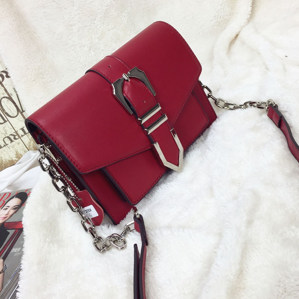 Bag female Metal belt buckle small square package New diagonal shoulder bag 2018 new female korean version of the bag with a small square package side buckle shoulder messenger bag packet tide