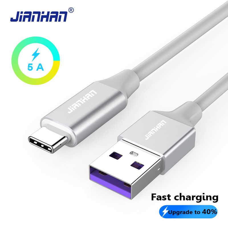 JIANHAN USB C QC 3,0 Быстрый Зарядное устройство кабель быстрой зарядки данных провод 5 V 5A Тип C 3,1 Для huawei Honor Xiaomi samsung S9 1 M/2 M