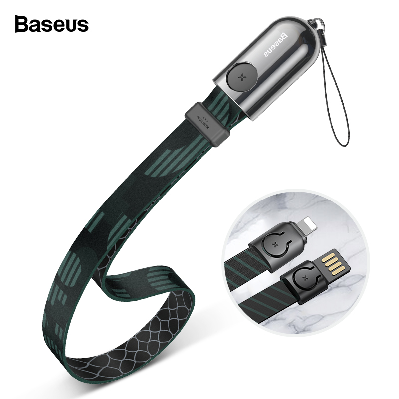 Baseus USB Cable For iPhone Portable Fast Charging Charger Mobile Phone Cable For iPhone Xs Max X 8 7 6 Plus Lanyard Cable Cord-in Mobile Phone Cables from Cellphones & Telecommunications on AliExpress