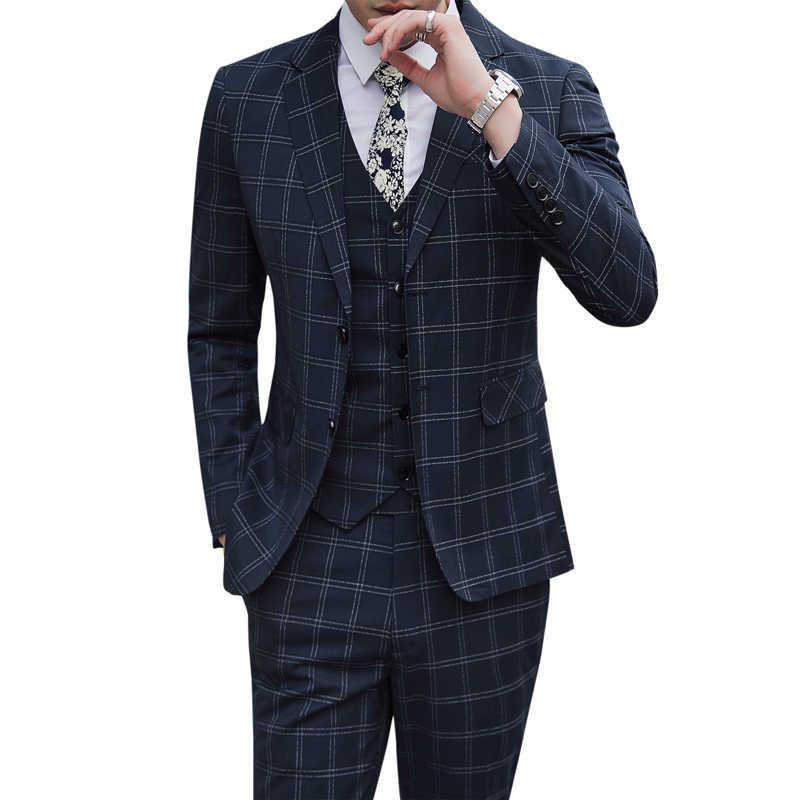 Men's British style slim suit 3 piece set (blazer + vest + pants) business high-end Plus size banquet spring suit S-5XL