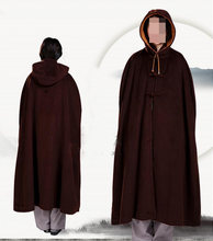 UNISEX warm meditation cloak Buddhist Monk suits wool robe winter mantle martial arts cape brown high quality(China)
