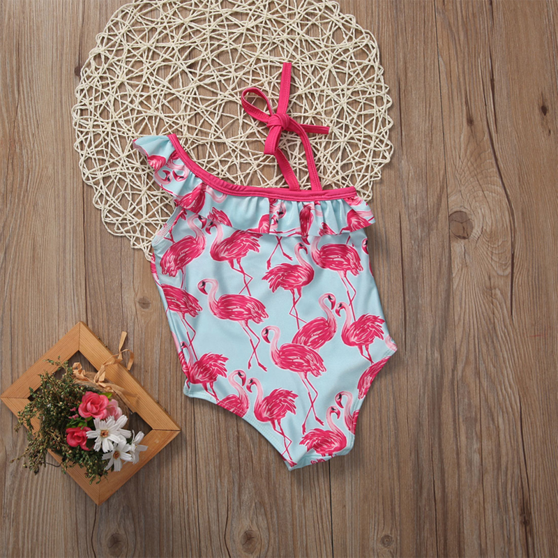 2017 От 1 до 6 лет купальный костюм с рисунком птицы для девочек, купальный костюм с одним плечом пляжная одежда для маленьких детей 15
