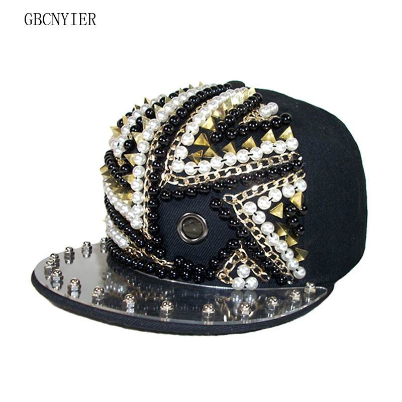 GBCNYIER Fashion Unisex Sport Hat Outdoor Street Cool Men And Female Dance Show Team Cap Rivet Fashion Show Time Hats