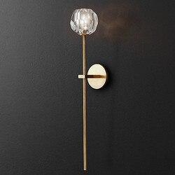 Salon duży K9 kryształowej kuli kinkiet długi Led kinkiety korytarz chodnik światła sypialnia G9 Led lampa lustrzana Luminaria