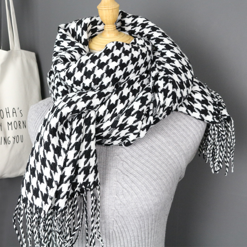 women winter thick fashion soft warm lady cashmere white and black long houndstooth scarf with tassel-in Women's Scarves from Apparel Accessories