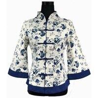 Chiński Rocznika Kobiety Koszula Bawełniana Pościel Tradycyjne Ręcznie Przycisk Bluzka Kwiat Tang Garnitur Topy Plus Rozmiar XXXL 4XL 5XL WS061