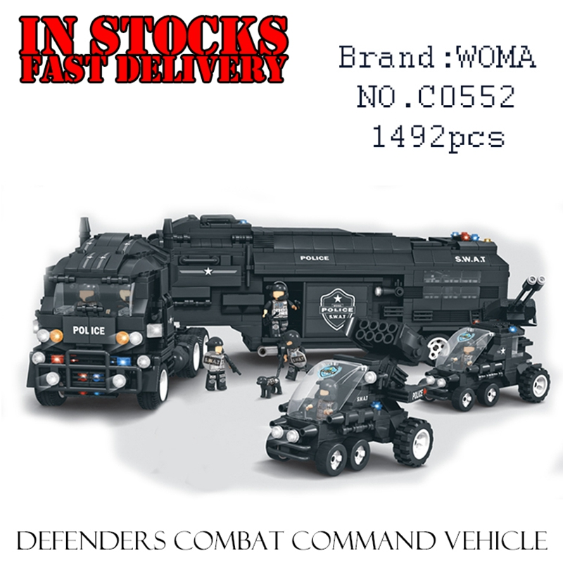 WOMA C0552 SWAT Team Defenders Combat Command Vehicle 1492PCS Building Blocks Bricks enlighten toys for children gift brinquedos qunlong toys military swat team command