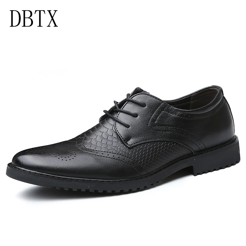 Mens Shoes Leather Dress Oxfords Snakeskin Shoes Mens Business Office Man Casual Wedding Lace-Up Flats Size 38-47 188