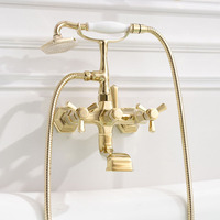 Bathtub Faucets Luxury Solid Brass Bath Shower Faucet Wall Mounted Antique Telephone Style Dual Handle Mixer Taps