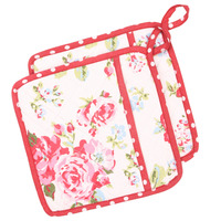 Neoviva Cotton Canvas Quilting Pot Holders Set Of 2 Floral Lollipop Red