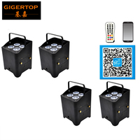 Freeshipping 4 Unit Freedom Hex 4 Wireless Battery Powered LED Par Cans 2.4G Receiver IRC 6/Infrared Flightcase Charging Socket