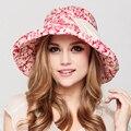 2016 Brand New Grande Aba do Chapéu de Sol de Verão Dobrável Algodão Disquete Sunbonnet das Mulheres Anti-UV Chapéu de Praia Casual Fower Impressão Cap