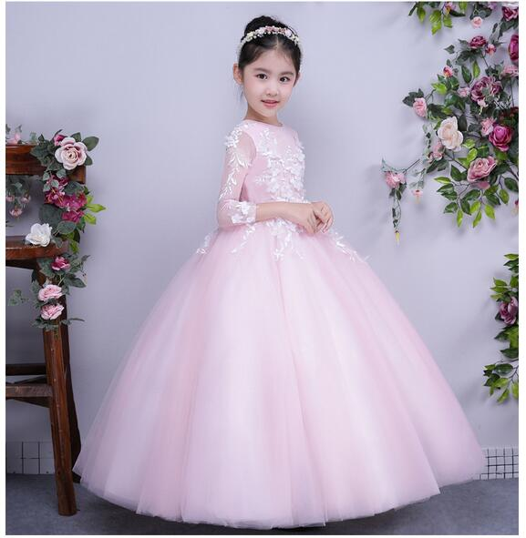 Girls Pageant Formal Dresses 2017 Winter Long Sleeve Gauze Gowns Flowers Girls Princess Tutu Dress Kids Party Wedding Dresses girls pageant long formal dresses 2017 sleeveless gauze gowns lace flowers girls tutu dress bow kids wedding party dresses 1 9y