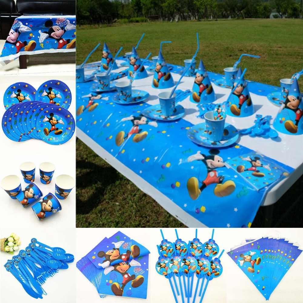 Mickey Mouse Kids Birthday Party Supplies disposable party tableware Plates Cups Tablecloth Favors Decoration Baby Shower Dishes