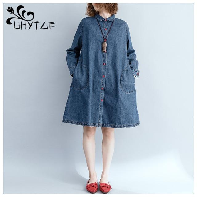 UHYTGF Women Denim Bomber Jacket dress coat Plus size Wild coats Lady  Elegant Outwear Fashion Coat Medium long section 152