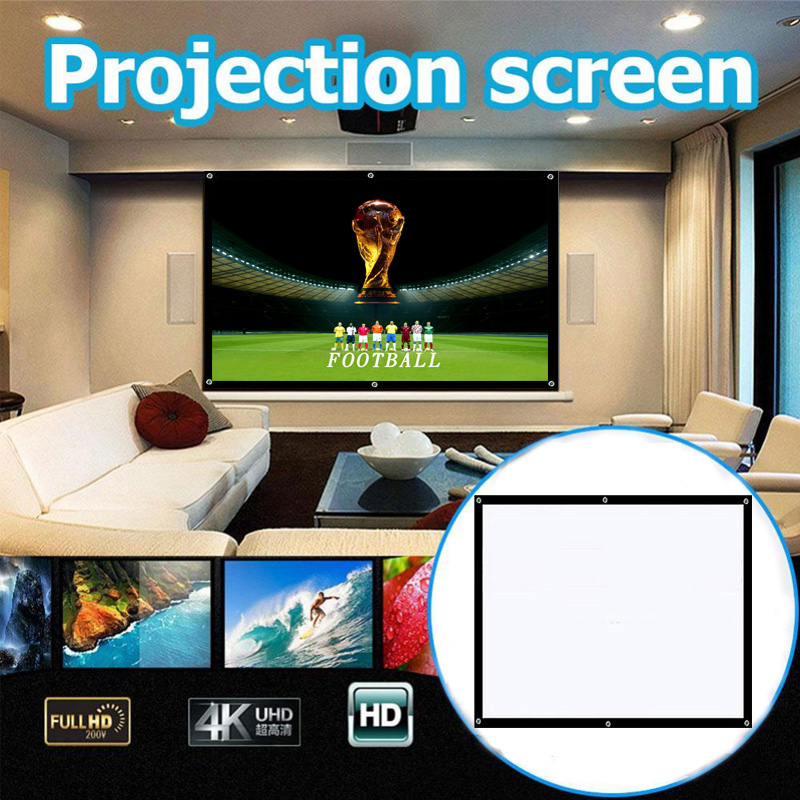 DOITOP 60/72/84/100/120/150 inch 4:3 Projection Screen Portable White HD Projector Screen Home Office Projectee Curtain fast free shipping 100 4 3 tripod portable projection screen hd floor stand bracket projector screen matt white factory supply