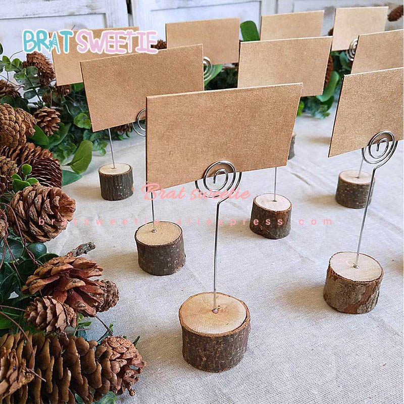 10 шт из дерева в деревенском стиле база свадебный стол имя номер держатель вечерние открытка с украшениями держатели фото Памятка Примечание фото клип держатель