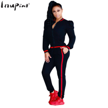 INUPIAT Fashion Women's Set Two Pieces Full Sleeve Zip Open Tops and Elastic Waist Long Pants Comfortable Tracksuits for Woman