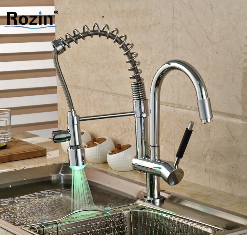 Chrome Finish LED Light Sprayer Kitchen Sink Faucet Single Lever Two Swivel Spout Pull Down Kitchen Mixer Taps