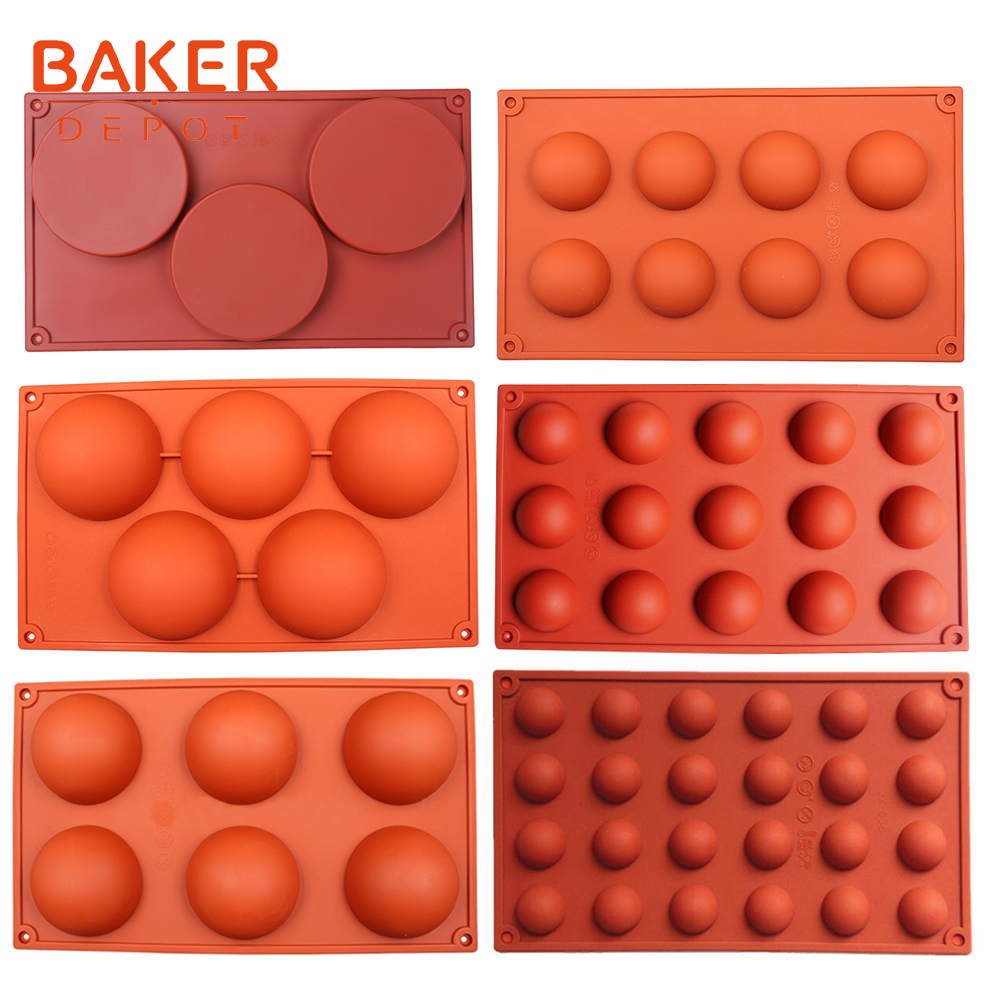 BAKER DEPOT silicone mold for chocolate baking dome cake pastry bakeware round candy pudding jelly soap form cake decoration DIY