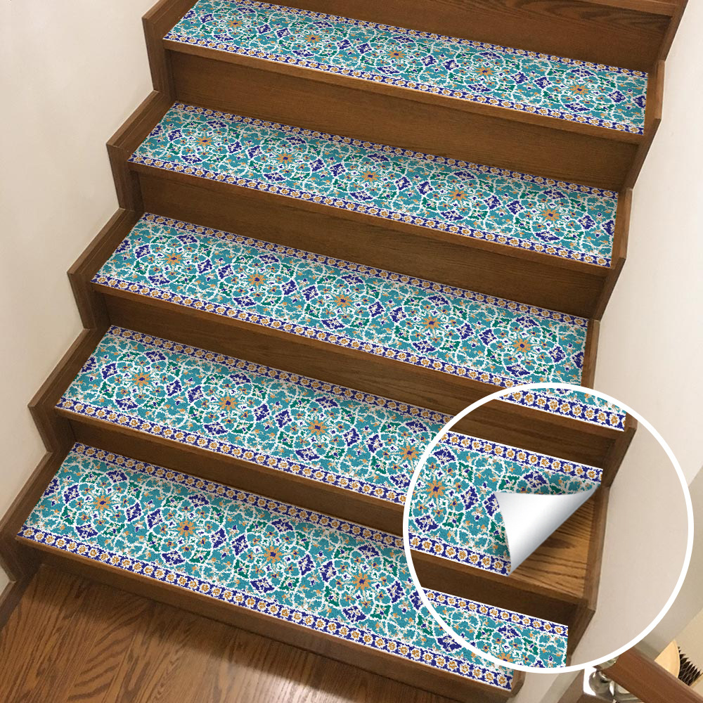 1PC 3D Moroccan Tiles Stairs Stickers Living Room Landscape Background Wall Home Decoration Waterproof Brick Wall Stickers