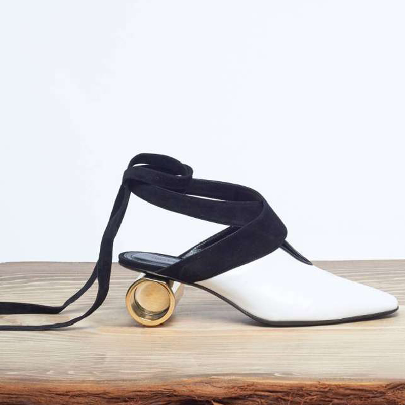 Moraima Snc 2019 The New Gold Black White Ankle Strap Novelty Strange Heels Med Heels Ankle Strap Lace-up Female Sandals ShoesMoraima Snc 2019 The New Gold Black White Ankle Strap Novelty Strange Heels Med Heels Ankle Strap Lace-up Female Sandals Shoes