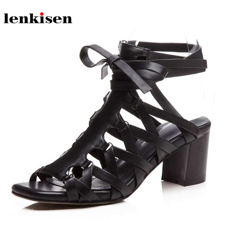 Lenkisen peep toe cow leather ankle cross tied causal summer shoes lace up streetwear mature show thin sexy women sandals L3f6
