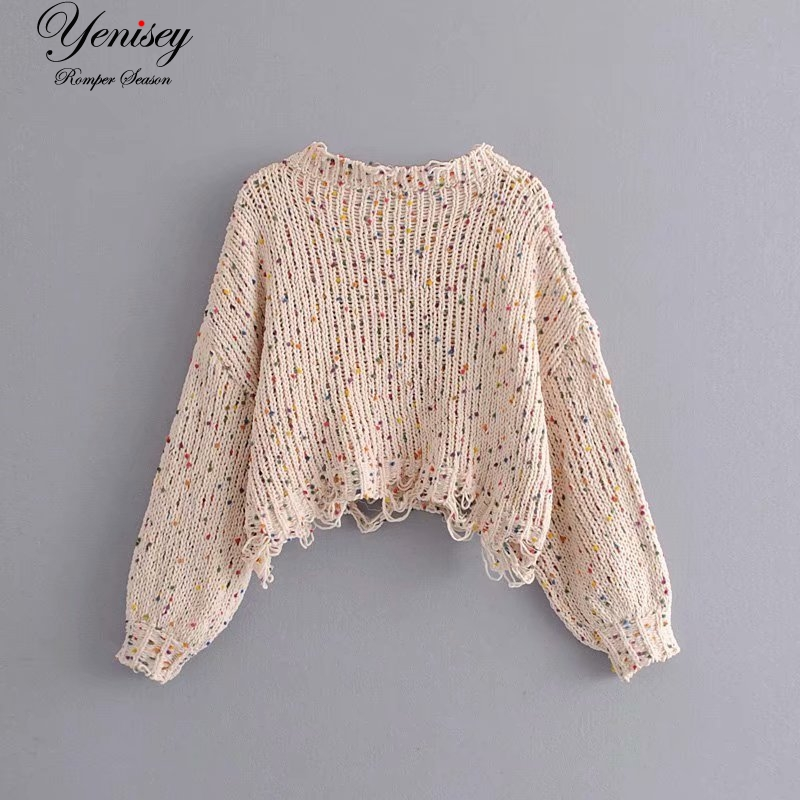 Women's Clothing Forceful Holiday Wind 58-6331 European And American Fashion Color Chondrules Irregular Loose Sweaters Pullovers
