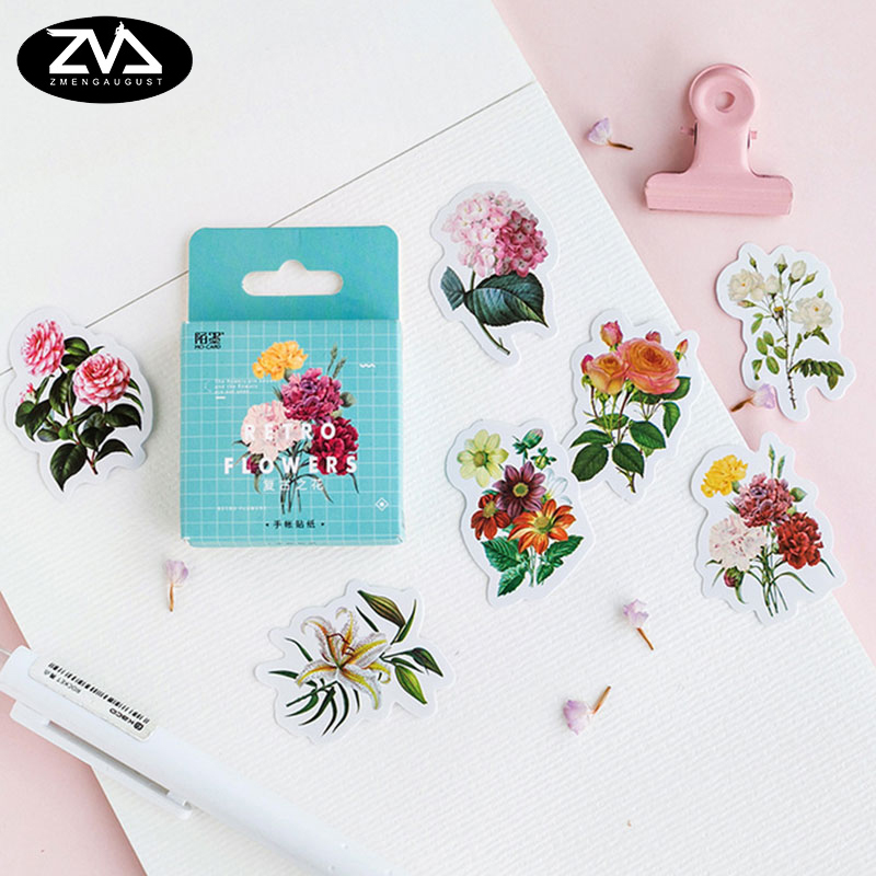 46 Pcs/box Retro flower Mini Paper Decoration DIY Scrapbook Notebook Album Sticker Stationery Kawaii Girl Sticker 45 pcs box classical chinese style stickers diy album adhesive paper scrapbook notebook decoration sticker stationery kids gifts