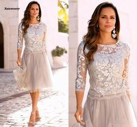 2018 Newest Short Mother Of The Bride Dresses Lace Tulle Knee Length 3/4 Long Sleeves Mother Bride Dresses Short Prom Dresses