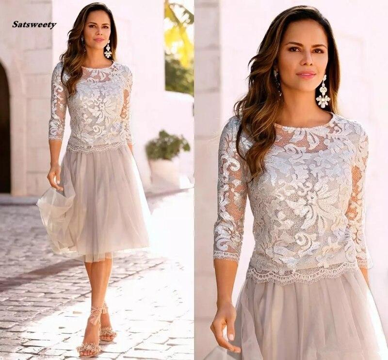 2019 date courte mère de la mariée robes dentelle Tulle genou longueur 3/4 manches longues mère mariée robes courtes robes de bal