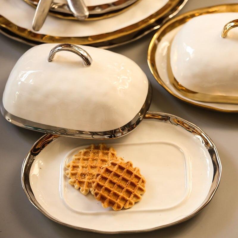 Gold Inlay Butter Plate Ceramic Dinnerware Sets Food Plates Rice Bowl Storage Box Ceramic Drinkware serveware
