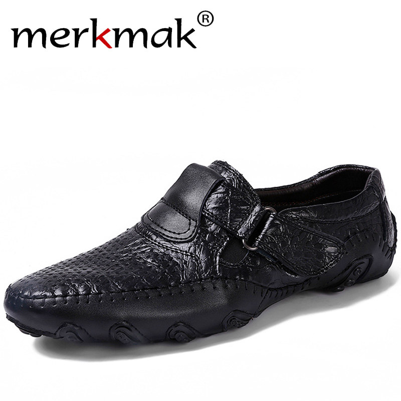 Merkmak Men Shoes Genuine Leather 2018 Driving Moccasins Mens Casual Shoes Boat Loafers Breathable Flats Handmade Lazy Shoes 2017 new brand breathable men s casual car driving shoes men loafers high quality genuine leather shoes soft moccasins flats