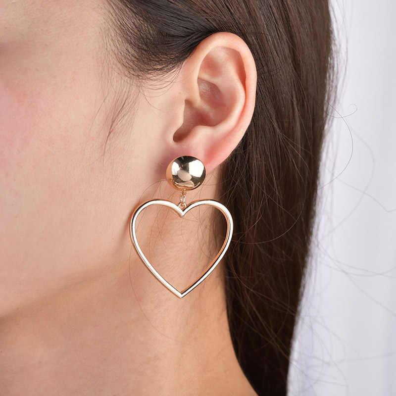 Moda metalowe serce naszyjnik kolczyki dla kobiet złoty dziewczyna dynda kolczyk Big Hollow proste oświadczenie
