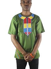 African Abstract Embroidery Men`s Ethnic Tops Side Slit Henley Shirts for Summer Wearing