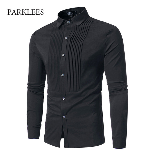 af065fb277d Mens Striped Fold Tuxedo Dress Shirts 2018 New Hipster Solid Black Slim Fit  Long Sleeve Shirt Men Business Wedding Chemise Homme