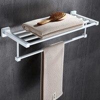Foldable BathTowel Holder Black Movable Towel Hanger Wall Mount 50 60 cm Bathroom Towel Rack Holder Stainless Steel Towel Shelf
